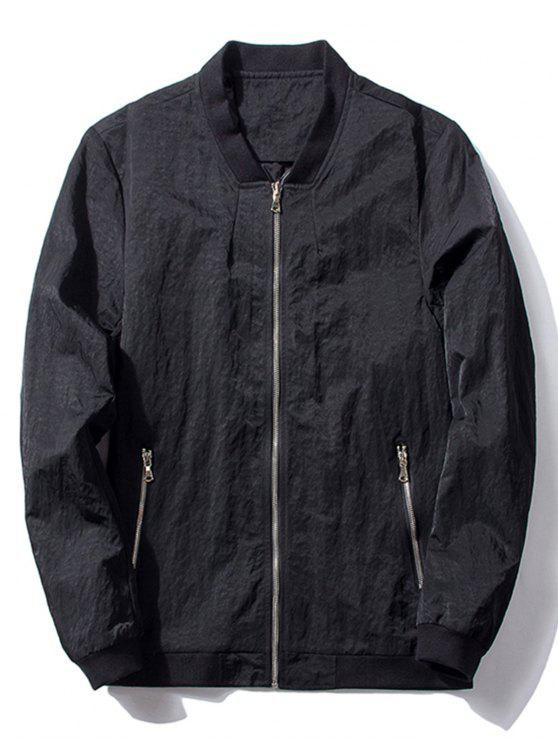 affordable Stand Collar Zip Pocket Bomber Jacket - BLACK 3XL