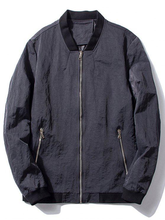 women Stand Collar Zip Pocket Bomber Jacket - GRAY XL