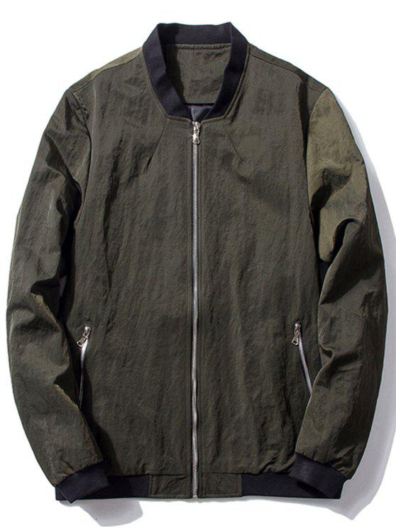 hot Stand Collar Zip Pocket Bomber Jacket - BLACKISH GREEN M