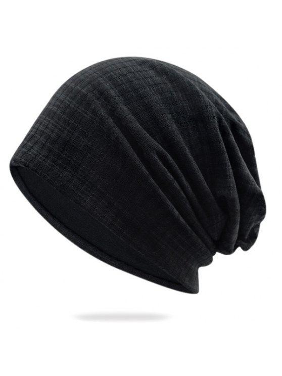 القطن غزل مزج بينستريب قبعة قبعة صغيرة - أسود