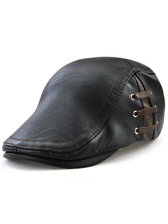 الدانتيل يصل تصميم فو الجلود شقة قبعة - أسود