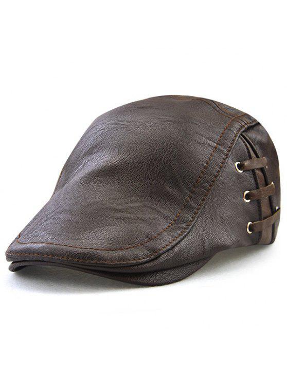 قبعة من الجلد المصنع بأربطة - إسبرسو