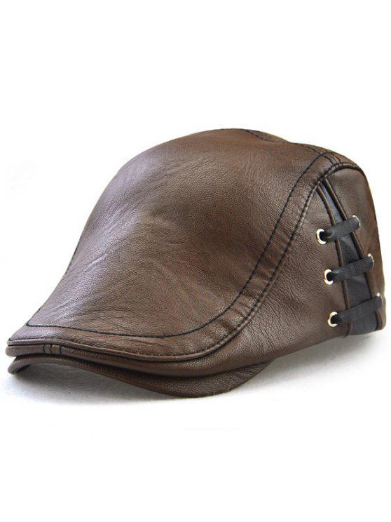 قبعة من الجلد المصنع بأربطة - القهوة الخفيفة