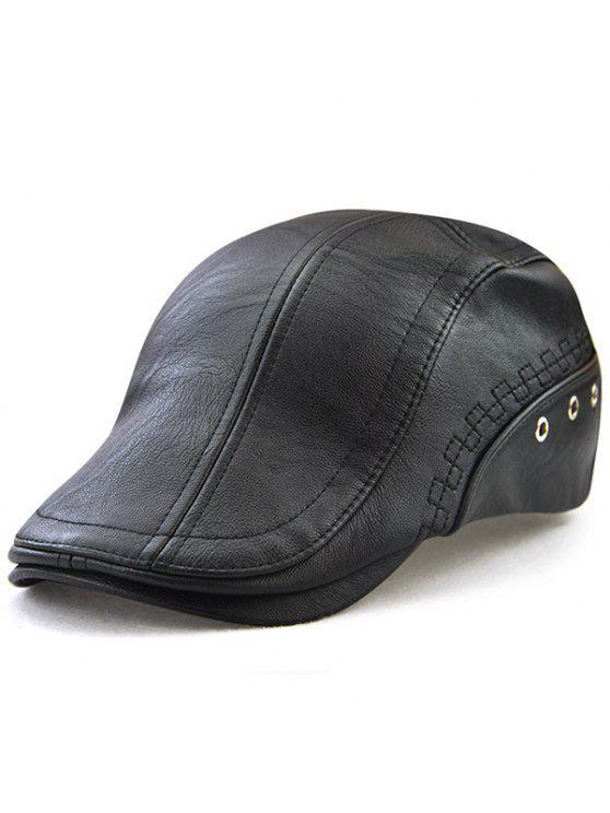 فو الجلود جولة برشام مزخرف قبعة الصحف الاخبارية - أسود