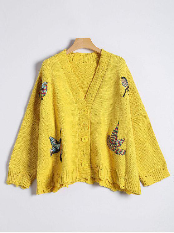 women Button Up Embroidered Ripped Cardigan - YELLOW ONE SIZE