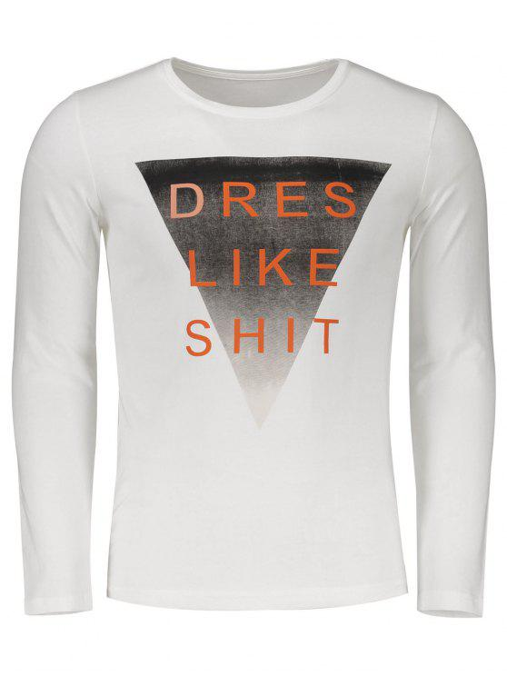 trendy Long Sleeve Graphic Letter Tee - WHITE 2XL