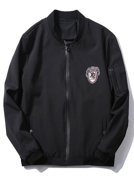 affordable Stand Collar Badge Zip Pocket Bomber Jacket - BLACK L