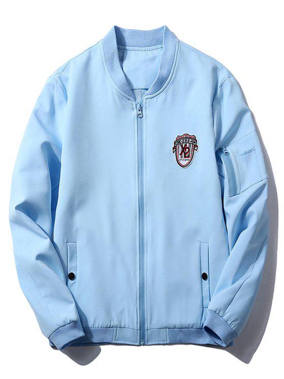shops Stand Collar Badge Zip Pocket Bomber Jacket - AZURE 3XL