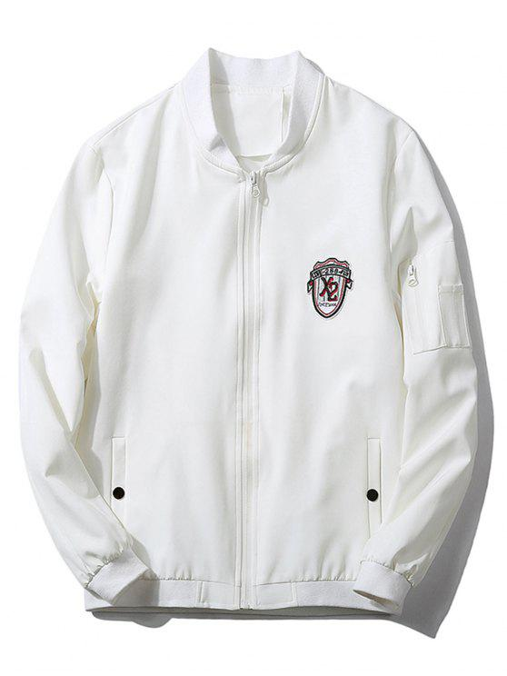 chic Stand Collar Badge Zip Pocket Bomber Jacket - WHITE L