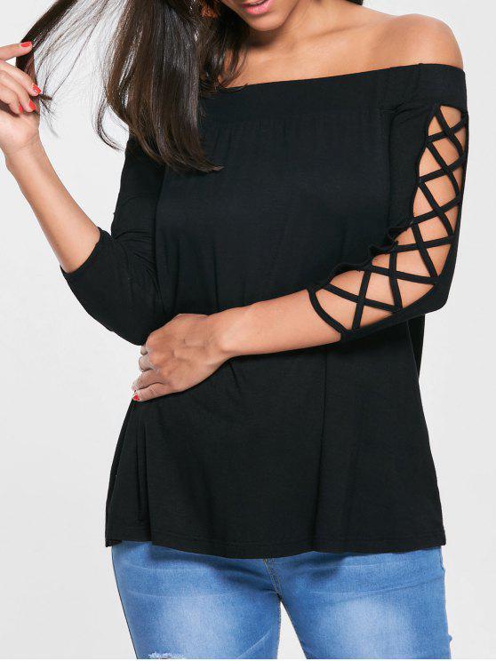 Découper le T-shirt épaule - Noir 2XL