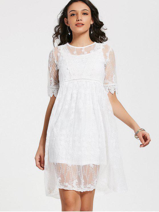 انظر من خلال الدانتيل ألف خط اللباس مع اللباس كامي - أبيض M