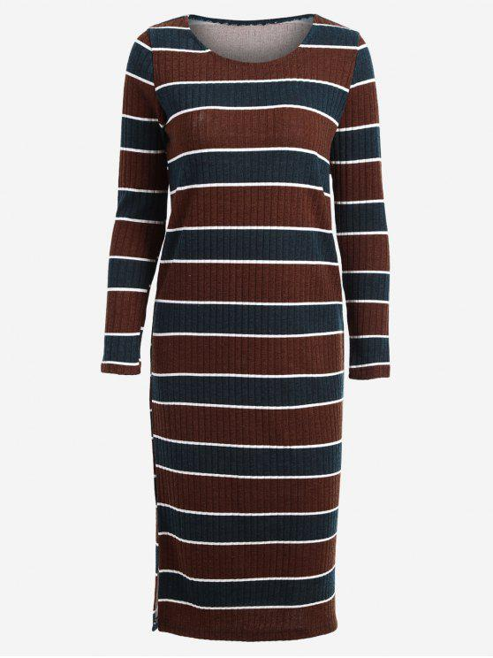 hot Long Sleeve Stripes Sweater Midi Dress - STRIPE M