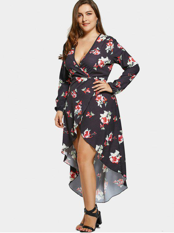 latest Floral High Low Plus Size Surplice Maxi Dress - BLACK 5XL