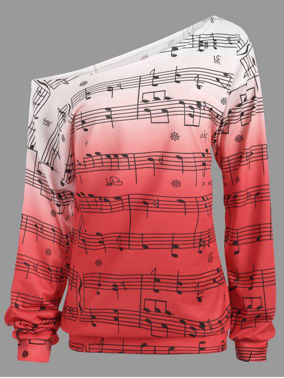outfit Musical Notes Print Long Sleeve Sweatshirt - PINK XL