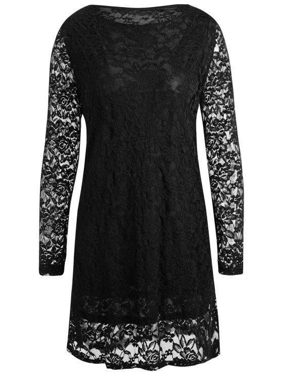 فستان قصير من الدانتيل ذو مقاس كبير - أسود 4XL