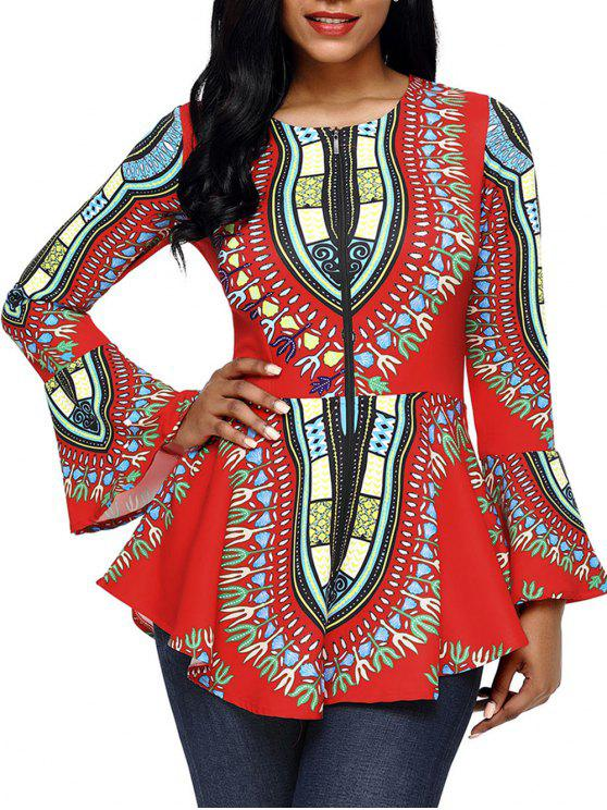 Tribal Druck Flare Hülse Peplum Top - Roter Zirkon M