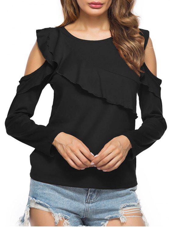 Rüschen Kaltes Schulter T-Shirt - Schwarz L