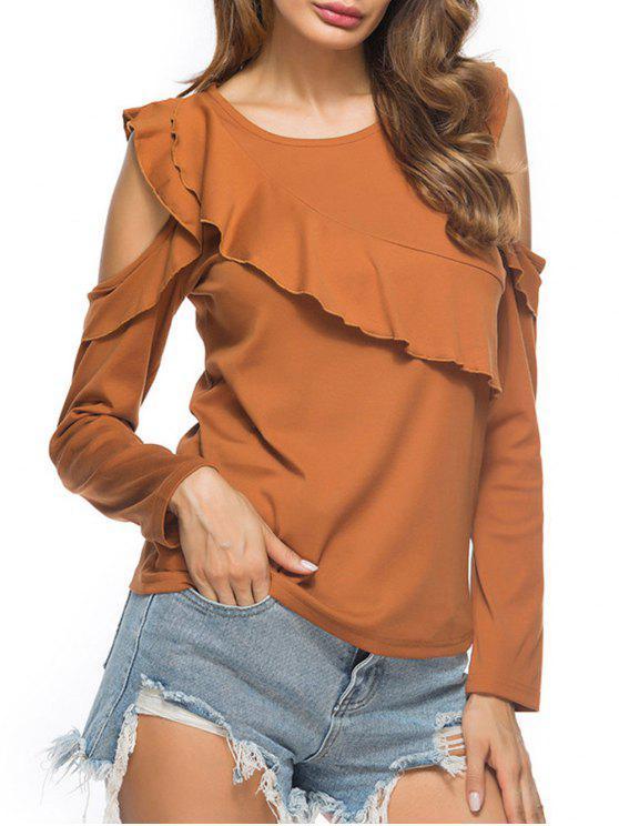 Kaltes Schulter gekräuseltes T-Shirt - Khaki M