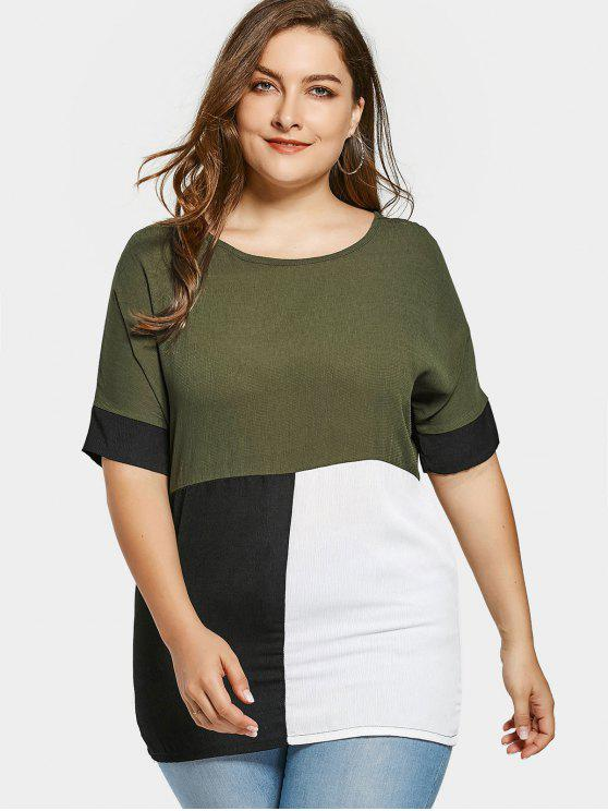 latest Plus Size Color Block Blouse - ARMY GREEN 2XL