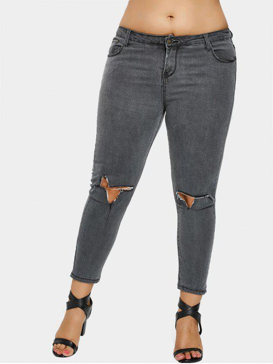 buy Ripped Plus Size Jeans - GRAY 2XL