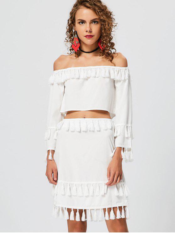 شرابة معطلة الكتف الأعلى مع تنورة - أبيض L