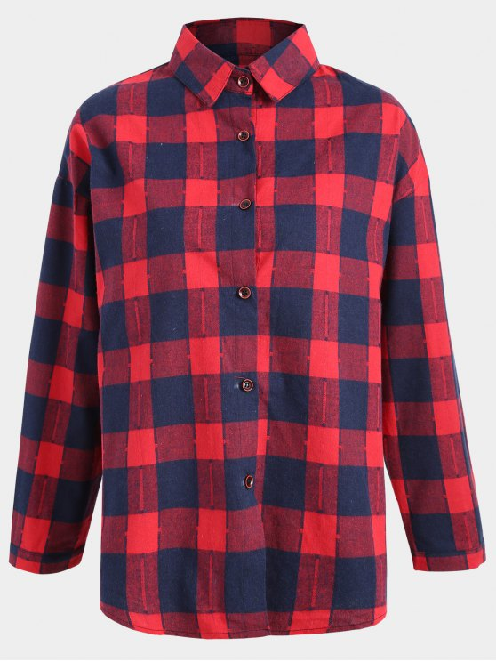 Button Up Checked Plus Size Shirt - Azul y Rojo 2XL