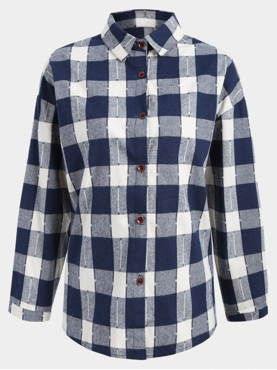 buy Button Up Checked Plus Size Shirt - BLUE AND WHITE 2XL
