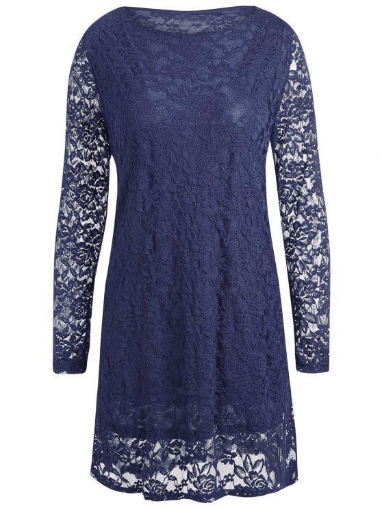 فستان قصير من الدانتيل ذو مقاس كبير - الأرجواني الأزرق 4XL