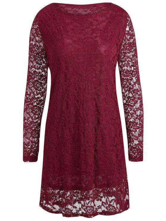 زائد حجم الدانتيل تراكب اللباس مصغرة - نبيذ أحمر 4XL
