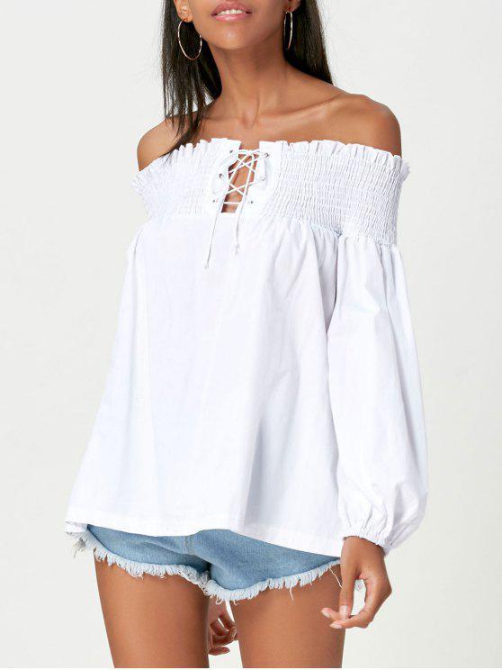 612969632c6d02 22% OFF  2019 Lace Up Off Shoulder Smock Blouse In WHITE