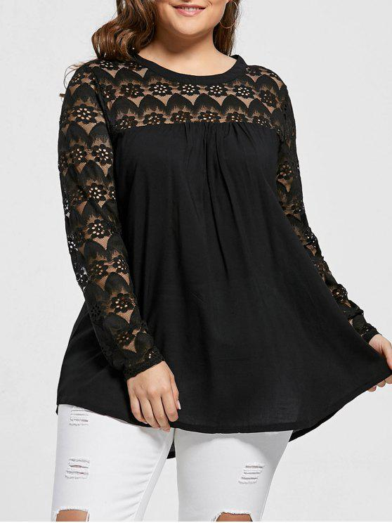 Lace Trim Plus Size Sheer Tunika Top - Schwarz XL