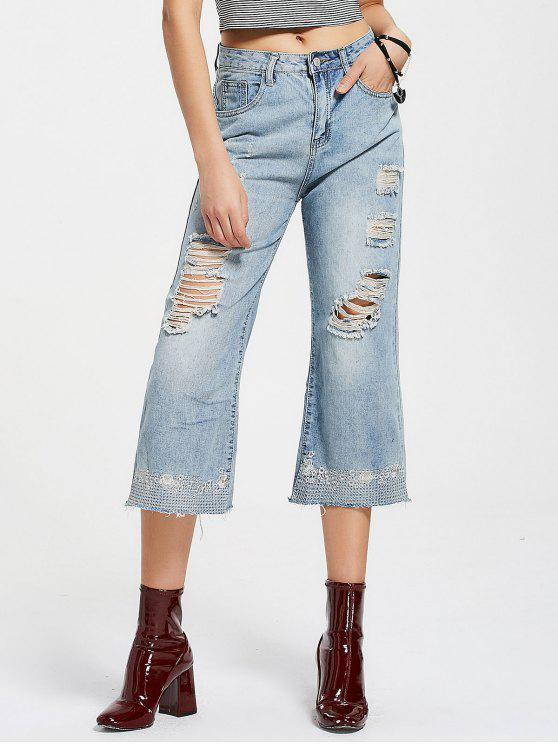 Bordado Destroyed Wide Leg Jeans - Jeans Azul L