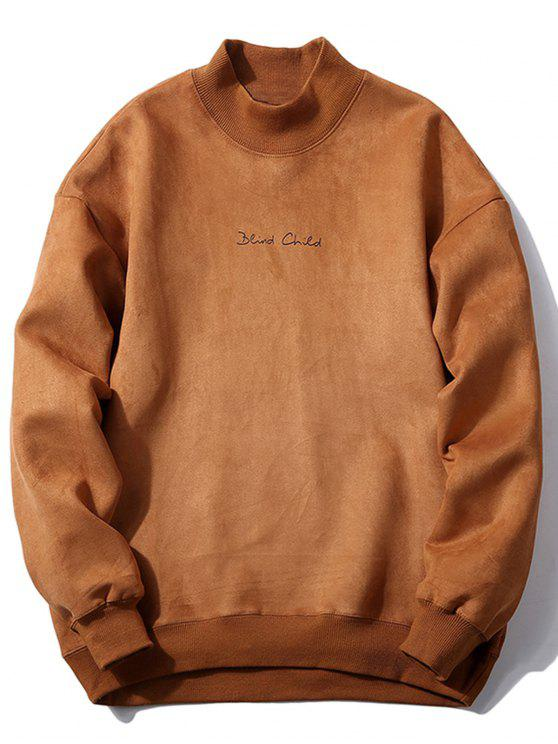 womens Crew Neck Graphic Print Suede Sweatshirt - CAMEL L