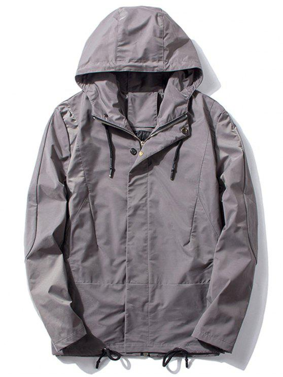 Encapuçado em espessura Drawstring Zip Up Jacket - Cinza 2XL