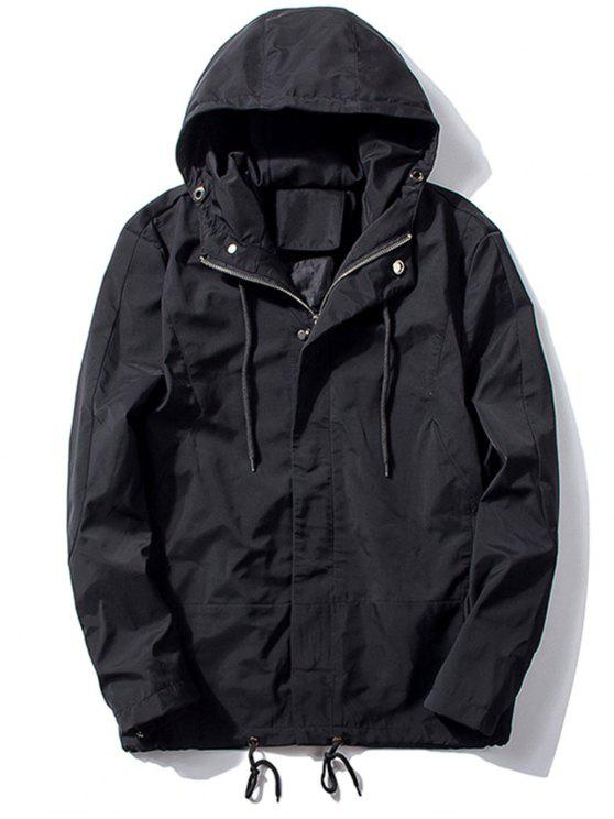 best Hooded Thicken Drawstring Zip Up Jacket - BLACK XL