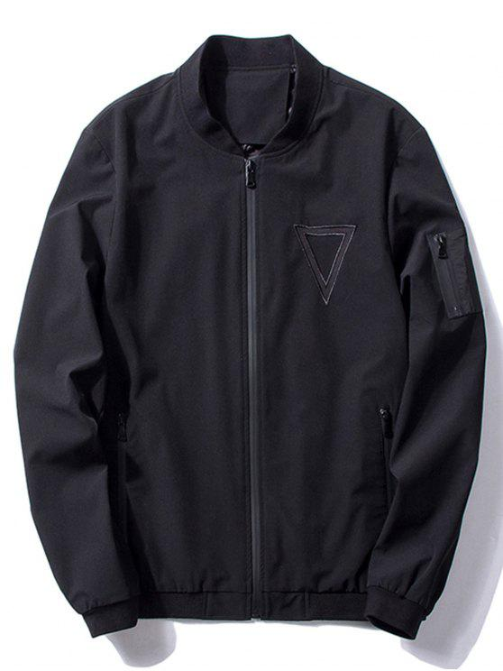 latest Stand Collar Triangle Embroidered Bomber Jacket - BLACK 2XL