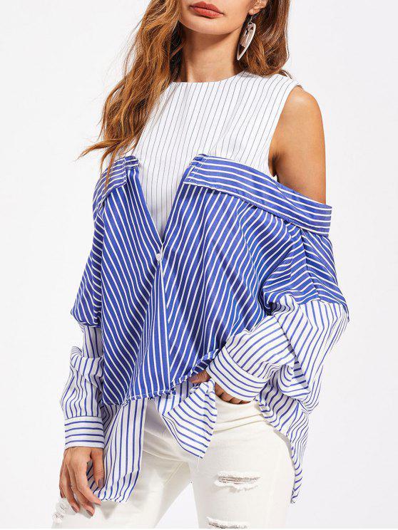hot Convertible Striped Tunic Shirt - MULTI M