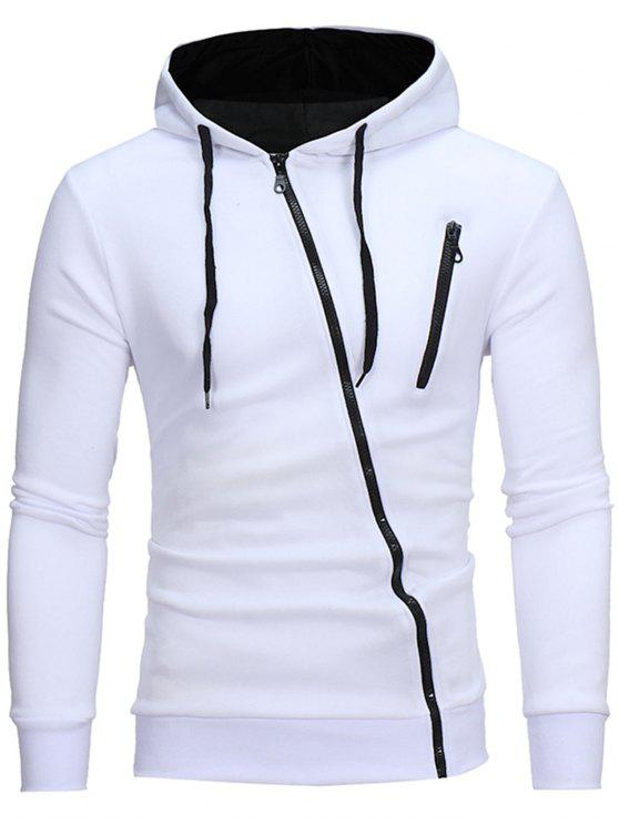 hot Oblique Zippers Color Block Fleece Hoodie - WHITE 3XL