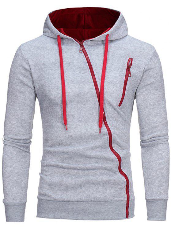 hot Oblique Zippers Color Block Fleece Hoodie - LIGHT GRAY M