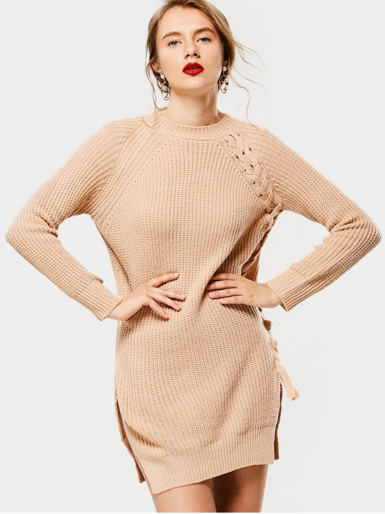 outfit Slit Long Raglan Sleeve Lace Up Sweater - APRICOT ONE SIZE
