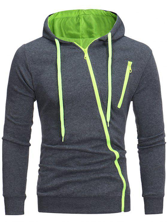 women Oblique Zippers Color Block Fleece Hoodie - DEEP GRAY M