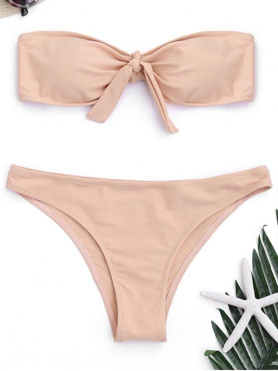 Bikini bandeau con cordones en la parte delantera acolchada - Rosa beige  S