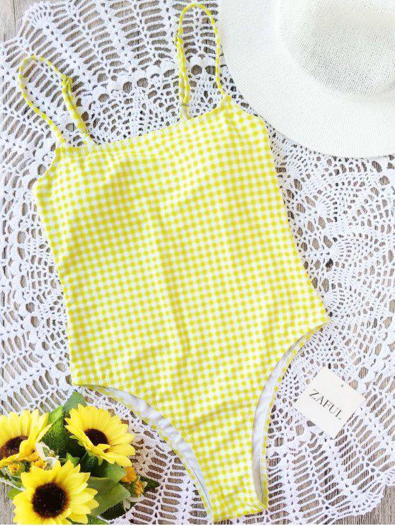 Traje de baño de una pieza de corte alto a cuadros - Blanco+Amarillo M