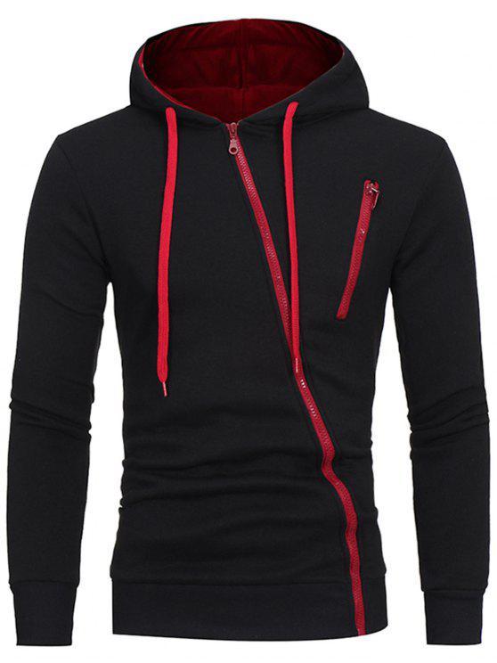 unique Oblique Zippers Color Block Fleece Hoodie - BLACK XL