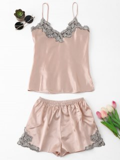 Applique Satin Pajama Set - Pinkbeige M