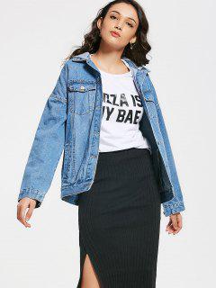 Hooded Button Up Denim Jacket With Pockets - Denim Blue S