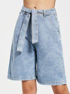 Fifth Belted Wide Leg Denim Shorts - Denim Blue M