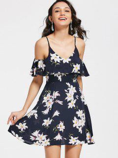 Overlap Floral Cold Shoulder Mini Dress - Floral L