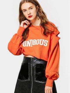 Cropped Cutout Letter Sweatshirt - Orangepink S