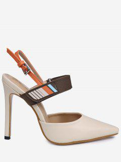 Stiletto Heel Buckle Strap Slingback Pumps - Apricot 38